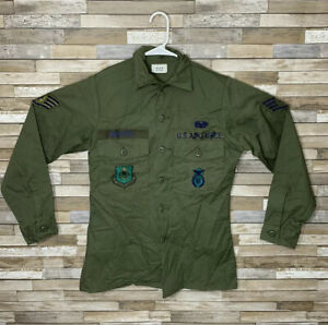 Vintage USAF Military Utility Long Sleeve Shirt Systems Command Staff Sergeant