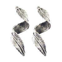 20x Antique Silver Twist Leaf Shaped Alloy Pendants Charms Crafts Findings 51784