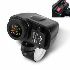yellow LED 12V Motorcycle USB Charger 2.1A+2.1A Digital Voltmeter + Thermometer