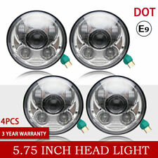 "5 3/4"" Round Chrome Projector LED Headlights Sealed Conversion HID Headlamp 4Set"