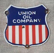 """Vintage Union Oil Company Porcelain Enamel Sign 7""""x7"""""""