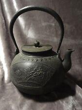 New listing Antique Japanese Tetsubin Teapot Signed Cast Iron Bronze