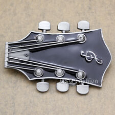 Guitarist Western Silver Guitar Rock Roll Music Note Tuner Enamel Belt Buckle