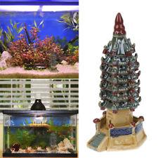1pc Ornament Beautiful Decor Ceramic Craft Hexagon Pagoda for Fish Tank Aquarium