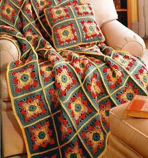Crochet Pattern Autumn Leaves Afghan Throw & Pillow Cover Set