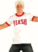 Adult Comic Movie FLASH Gordon Logo Red Ringer Tee Shirt Blonde Wig Costume Set