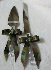 US ARMY  MILITARY Wedding PARTY CAMO CAKE KNIFE & SERVER