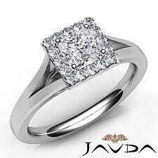 Shiny Princess Diamond Engagement Halo Pave Ring GIA E SI1 18k White Gold 0.7Ct