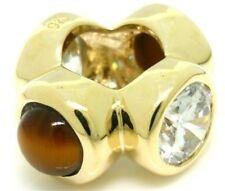 Whiz Tiger Eye 9K 9ct Solid Gold Bead Charm FITS EURO BRACELETS 30 Day Return