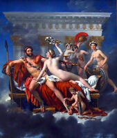 Oil painting Jacques Louis David - Mars Disarmed by Venus and the Three Graces