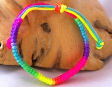 Mixed neon colour braided design friendship bracelet wristband. Hippy Festival