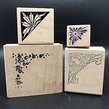 Lot of 4 Corner Border Mounted Rubber Stamps, Stamping & Embossing (Rf605-70)