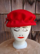 Ladies Vtg Henry Pollak NY Red 100% Wool Cloche Brim Pillbox Dress Bowler Hat