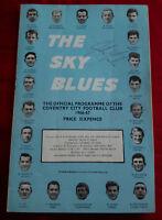 COVENTRY CITY FOOTBALL CLUB JOHN TUDOR SIGNED PROGRAMME 1966 1967 v WEST HAM VGC