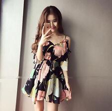 Korean Womens Off Shoulder Strap V Neck Chiffon Empire Waist Summer Beach Dress