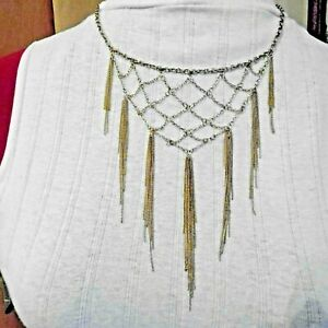 NEW...EXQUISITE, DELICATE BIB STYLE NECKLACE IN PALE GOLD TONE by 'MOOD'