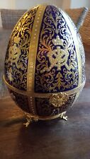 Faberge 12 Monograms Collectible Egg- 7/100 Very Large Beautiful 24K Plated