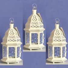Lot of 3 Moroccan Style Lantern Creamy White Candleholder Wedding Centerpieces