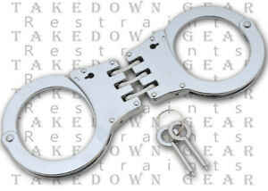 NEW POLICE STEEL HINGED POLICE HANDCUFFS HAND CUFFS