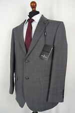 Men's New Jeff Banks Travel Tailored Fit Grey Checked Suit 42R W36 L32 AA395
