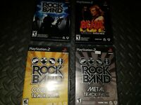 Rock Band, Metal, AC DC, and Country Track Pack (Sony PlayStation 2 4 Game Lot !