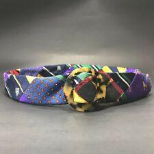 Women's J. Crew Purple/Blue Patchwork Bulldog D Ring Silk Belt SZ Small-Medium