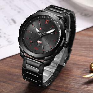 Top Men's Stainless Steel Waterproof Date Quartz Analogue Business Wrist Watches