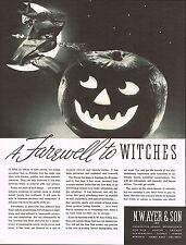 1934 BIG Vintage Ayer Son Witch Jack O Lantern Halloween Art Photo Print Ad