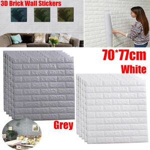 Large 3D Tile Brick Wall Sticker Self-adhesive Waterproof Foam Panel 70x77cm N