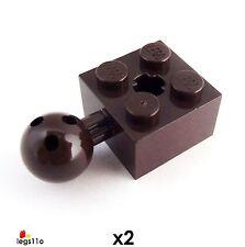 Lego Ladrillo 2X2 con bola Jont y eje agujero (paquete de 2) 57909 Nuevo Marrón Oscuro
