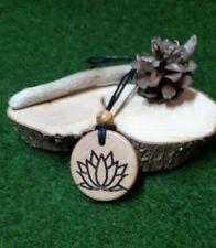 Wooden Pendant necklace lotus flower engraved
