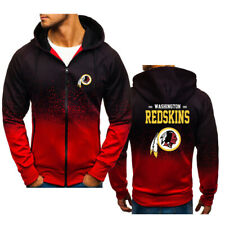 Washington Redskins Hoodie Zipper Sweatshirt Hooded Casual Jacket Fans Gifts