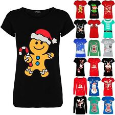 Womens Ladies Long Sleeve Candy Stick Gingerbread Christmas Xmas Tee Shirt Top