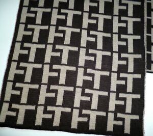 Tommy Hilfiger mens brown beige logo scarf NEW lambswool & acrylic winter warm
