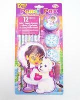 Lisa Frank Pencil Pax 12 PC Anana Eskimo Bear Pencils Erasers Grips Sharpener