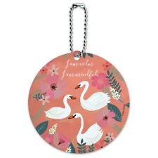 I am Calm I am Mindful Swans Flowers Round Luggage ID Tag Card Suitcase Carry-On