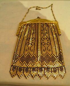 Vintage Antique Whiting & Davis Deco Mesh Chain Mail Handbag Gold & Black