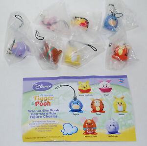 Disney Winnie the Pooh Egg-stra Fun Figure Complete Charms Set of 7 VHTF RARE
