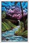 Bob Ross Black Waterfall Art Print Painting White Wood Framed Poster 14x20