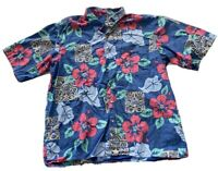 Reyn Spooner Hawaiian Shirt Floral Aloha Blue Red Flowers Mens Size L?