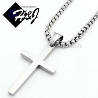 """16-36""""MEN Stainless Steel 2/3/4mm Silver Smooth Box Link Chain Cross Pendant*SP"""