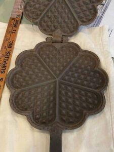 "Antique Cast Iron Heart Shape Waffle Iron maker Paddles 14.5 x 8.75"""