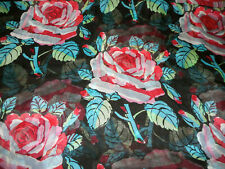Vintage Abstract Roses Silk Chiffon Fabric ~ Black Pink Red Gray Turquoise