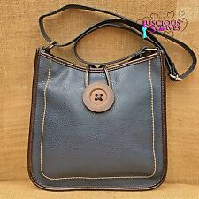 Ladies Navy Cross body Faux Leather Big Button Fashion Shoulder Bag Handbag