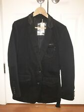 Diesel Black Blazer Leather Trim Belt Chest Chain Slim Coat Jacket Small $800
