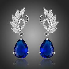 Sparkly Clear White,Blue Zircon Drop Dangle Rhodium Plated Bridal Women Earrings