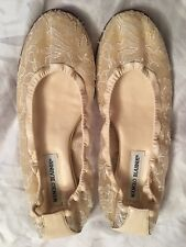 New Women's Designer Manolo Blahnik Ivory Lace Flats Size 38.5 Made In Italy