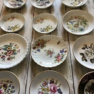 Lot Of 15 Porcelain Pin / Trinket Dishes Some Pairs Doulton Coalport Minton VGC