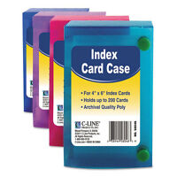 C-Line Index Card Case, Holds 200 4 X 6 Cards, Polypropylene, Color May Vary