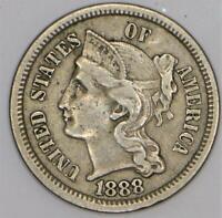 1888 Three Cent Nickel; XF; Mintage 36,501